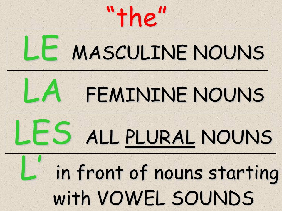 the the LE MASCULINE NOUNS LE MASCULINE NOUNS LA FEMININE NOUNS LA FEMININE NOUNS LES ALL PLURAL NOUNS LES ALL PLURAL NOUNS L in front of nouns starting L in front of nouns starting with VOWEL SOUNDS with VOWEL SOUNDS