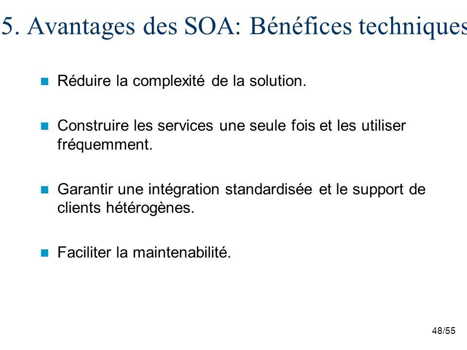 48/55 5.Avantages des SOA: Bénéfices techniques Réduire la complexité de la solution.