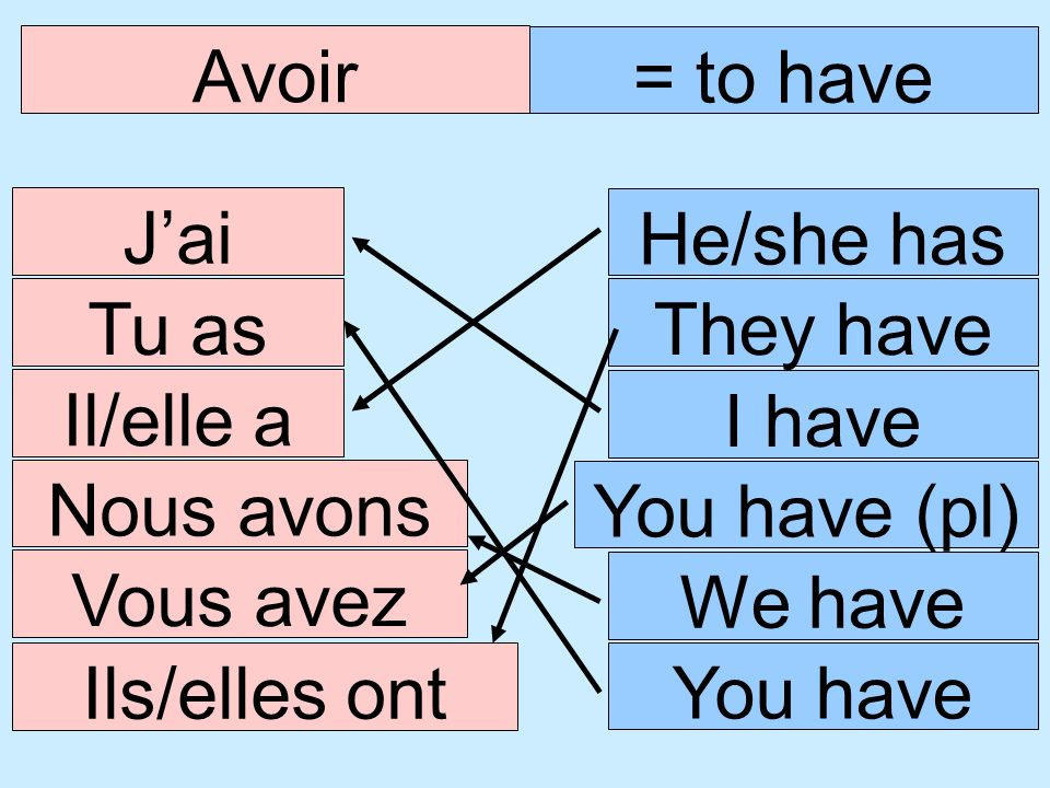 Avoir = to have Jai I have Tu as Il/elle a Nous avons Vous avez Ils/elles ont You have (pl) He/she has We have You have They have