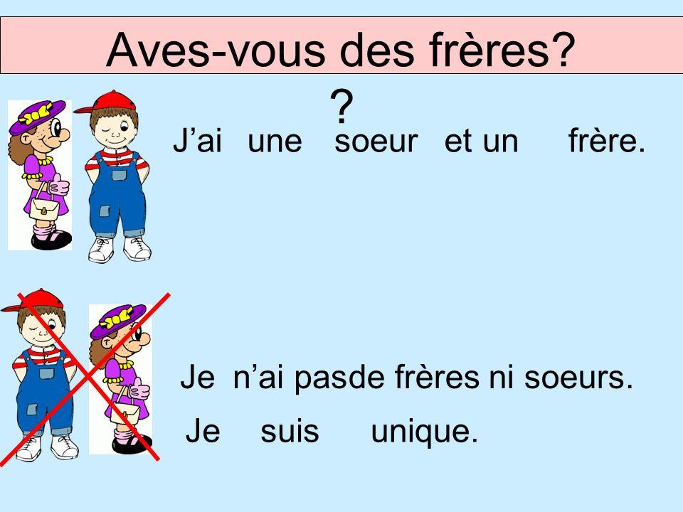 Jaiunesoeurfrère.etun Jenai pas Aves-vous des frères? ? de frères ni soeurs. Jesuisunique.