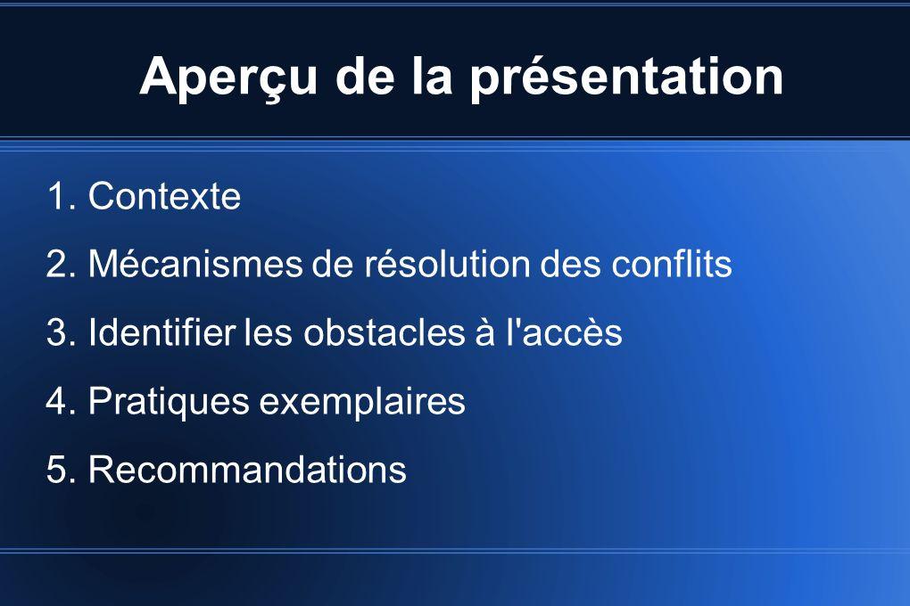 Aperçu de la présentation 1. Contexte 2. Mécanismes de résolution des conflits 3.
