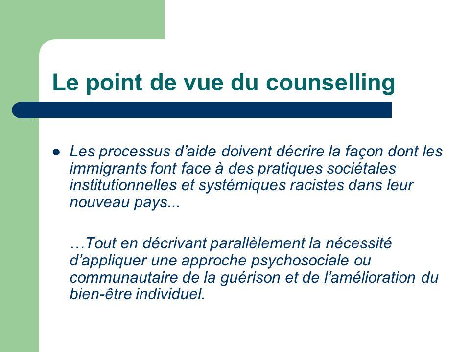 Le point de vue du counselling Les processus daide doivent décrire la façon dont les immigrants font face à des pratiques sociétales institutionnelles et systémiques racistes dans leur nouveau pays...