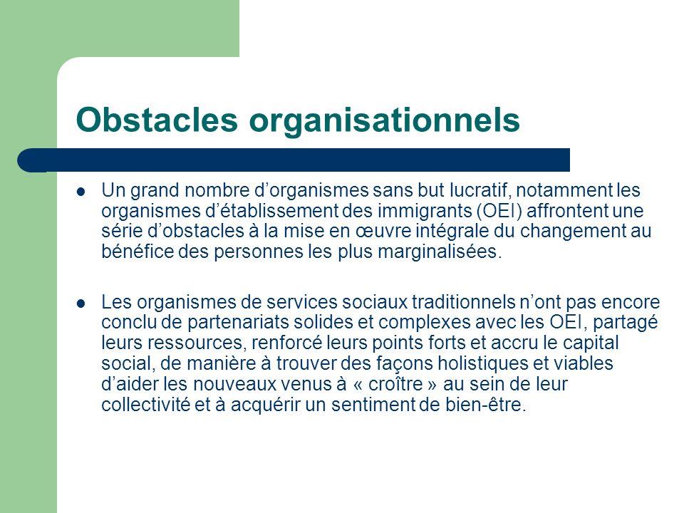 Obstacles organisationnels Un grand nombre dorganismes sans but lucratif, notamment les organismes détablissement des immigrants (OEI) affrontent une série dobstacles à la mise en œuvre intégrale du changement au bénéfice des personnes les plus marginalisées.