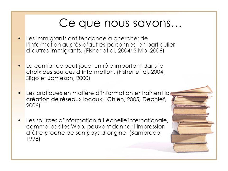 Ce que nous savons… Les immigrants ont tendance à chercher de linformation auprès dautres personnes, en particulier dautres immigrants. (Fisher et al,