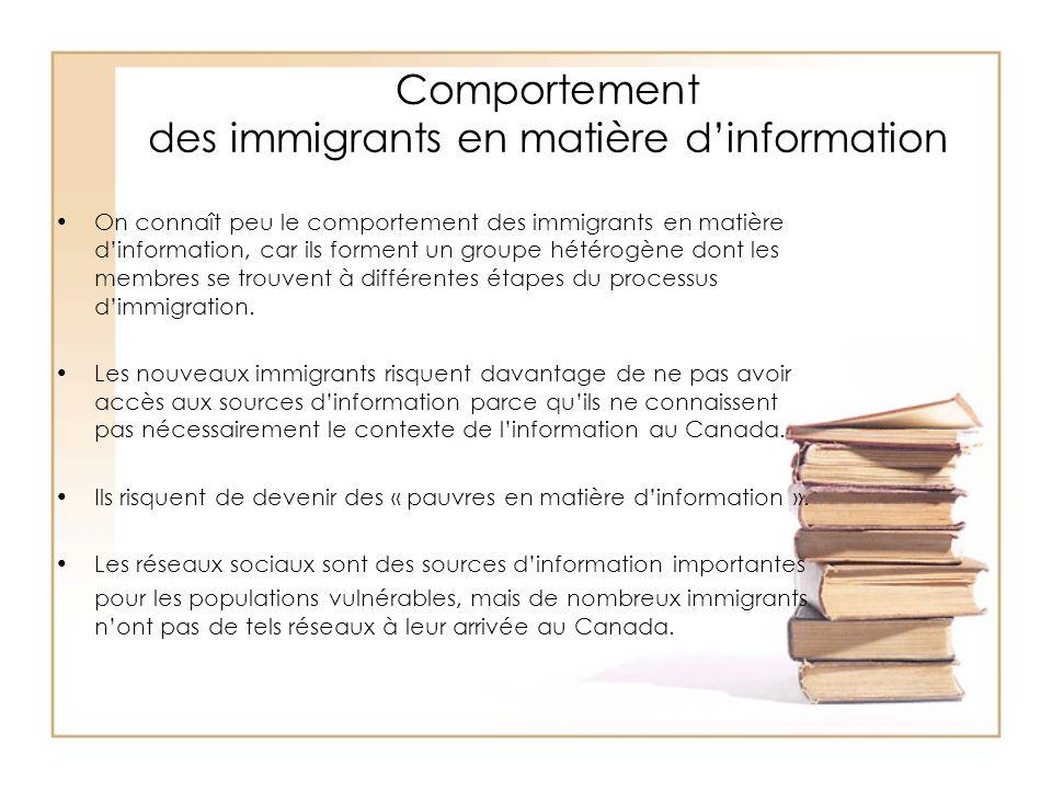 Comportement des immigrants en matière dinformation On connaît peu le comportement des immigrants en matière dinformation, car ils forment un groupe h