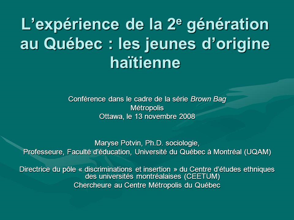 Lexpérience de la 2 e génération au Québec : les jeunes dorigine haïtienne Conférence dans le cadre de la série Brown Bag Métropolis Ottawa, le 13 novembre 2008 Maryse Potvin, Ph.D.