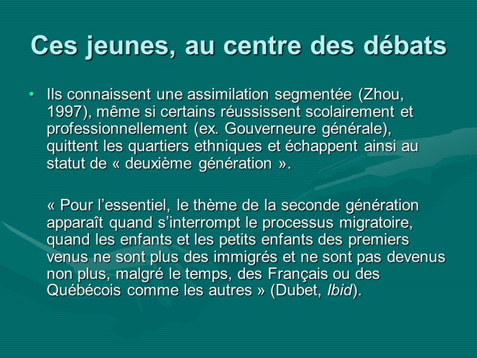 Ces jeunes, au centre des débats Ils connaissent une assimilation segmentée (Zhou, 1997), même si certains réussissent scolairement et professionnellement (ex.