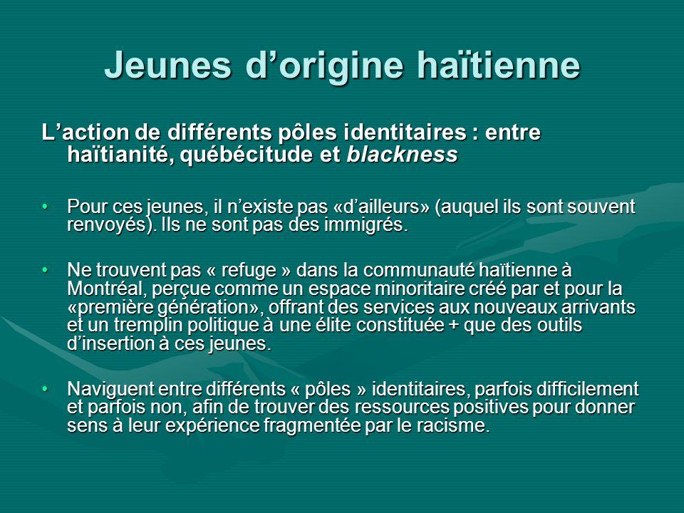 Jeunes dorigine haïtienne Laction de différents pôles identitaires : entre haïtianité, québécitude et blackness Pour ces jeunes, il nexiste pas «dailleurs» (auquel ils sont souvent renvoyés).