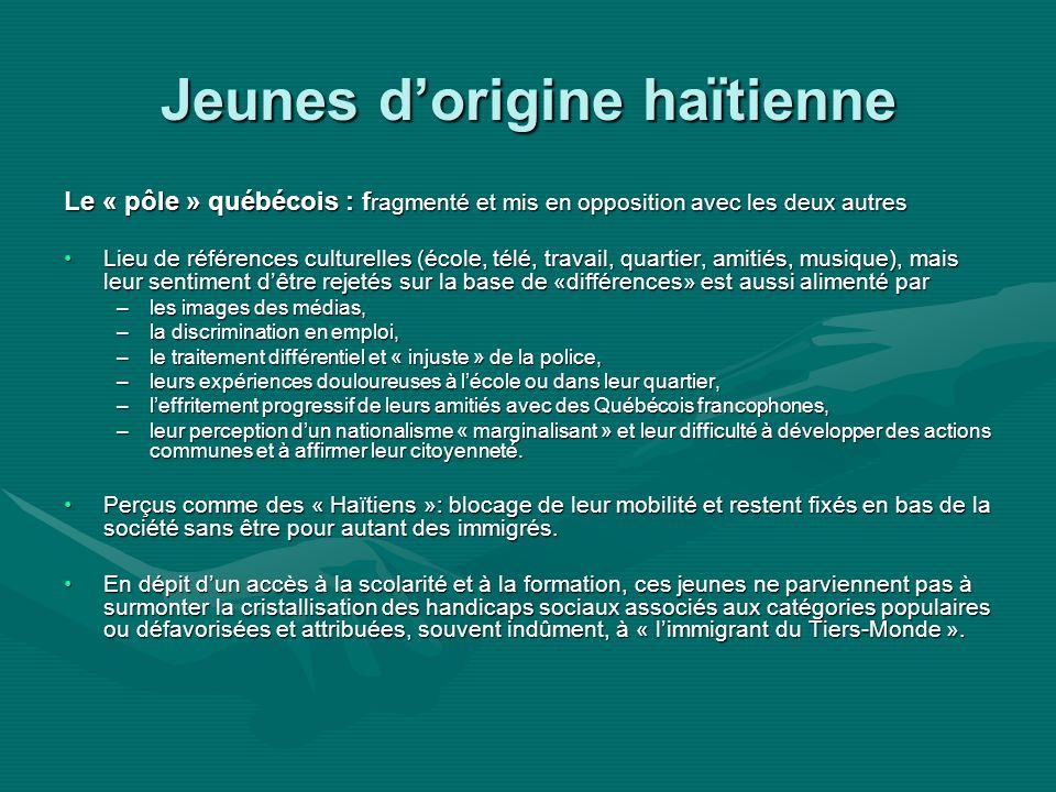 Jeunes dorigine haïtienne Le « pôle » québécois : f ragmenté et mis en opposition avec les deux autres Lieu de références culturelles (école, télé, travail, quartier, amitiés, musique), mais leur sentiment dêtre rejetés sur la base de «différences» est aussi alimenté parLieu de références culturelles (école, télé, travail, quartier, amitiés, musique), mais leur sentiment dêtre rejetés sur la base de «différences» est aussi alimenté par –les images des médias, –la discrimination en emploi, –le traitement différentiel et « injuste » de la police, –leurs expériences douloureuses à lécole ou dans leur quartier, –leffritement progressif de leurs amitiés avec des Québécois francophones, –leur perception dun nationalisme « marginalisant » et leur difficulté à développer des actions communes et à affirmer leur citoyenneté.