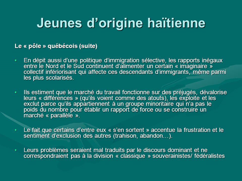 Jeunes dorigine haïtienne Le « pôle » québécois (suite) En dépit aussi dune politique dimmigration sélective, les rapports inégaux entre le Nord et le Sud continuent dalimenter un certain « imaginaire » collectif infériorisant qui affecte ces descendants dimmigrants, même parmi les plus scolarisés.En dépit aussi dune politique dimmigration sélective, les rapports inégaux entre le Nord et le Sud continuent dalimenter un certain « imaginaire » collectif infériorisant qui affecte ces descendants dimmigrants, même parmi les plus scolarisés.