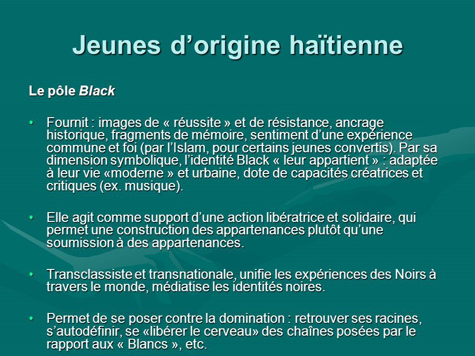 Jeunes dorigine haïtienne Le pôle Black Fournit : images de « réussite » et de résistance, ancrage historique, fragments de mémoire, sentiment dune expérience commune et foi (par lIslam, pour certains jeunes convertis).