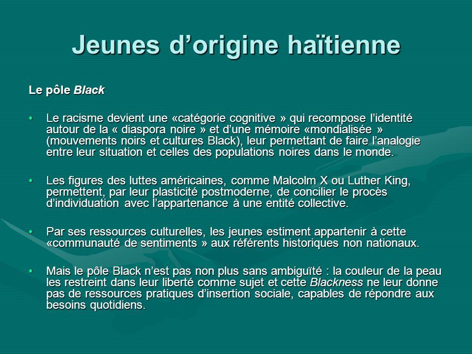 Jeunes dorigine haïtienne Le pôle Black Le racisme devient une «catégorie cognitive » qui recompose lidentité autour de la « diaspora noire » et dune mémoire «mondialisée » (mouvements noirs et cultures Black), leur permettant de faire lanalogie entre leur situation et celles des populations noires dans le monde.Le racisme devient une «catégorie cognitive » qui recompose lidentité autour de la « diaspora noire » et dune mémoire «mondialisée » (mouvements noirs et cultures Black), leur permettant de faire lanalogie entre leur situation et celles des populations noires dans le monde.