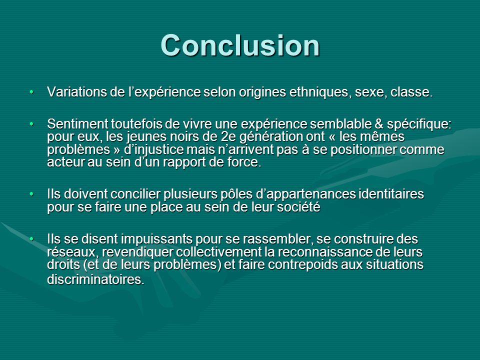 Conclusion Variations de lexpérience selon origines ethniques, sexe, classe.Variations de lexpérience selon origines ethniques, sexe, classe.