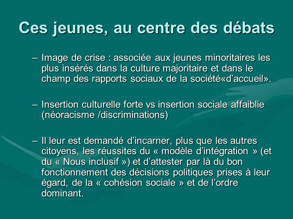 Ces jeunes, au centre des débats –Image de crise : associée aux jeunes minoritaires les plus insérés dans la culture majoritaire et dans le champ des rapports sociaux de la société«daccueil».