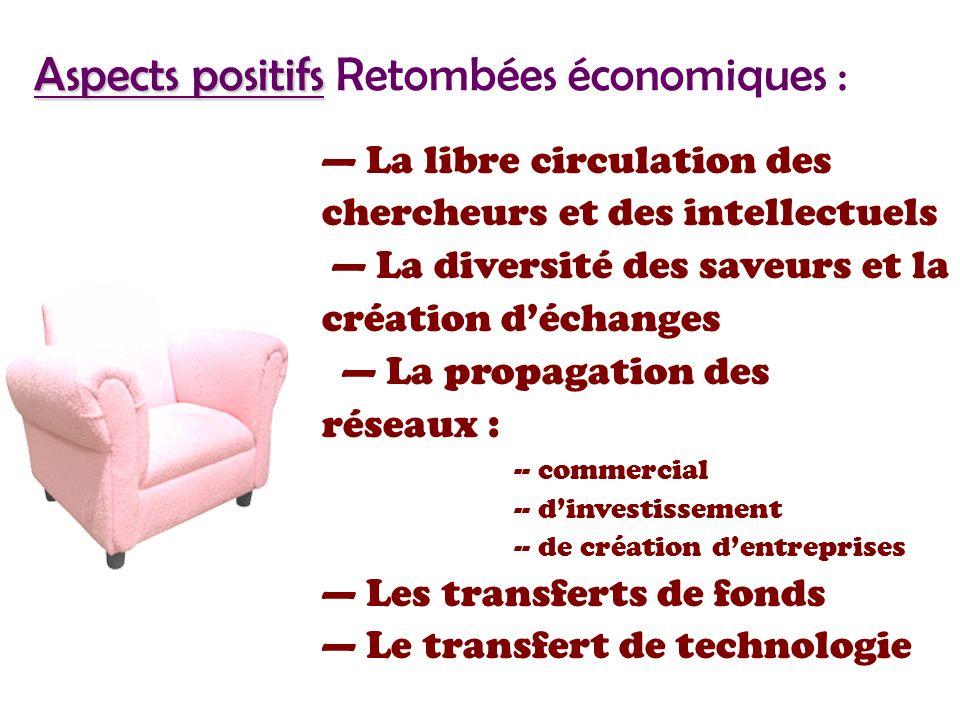 Aspects positifs Aspects positifs Retombées économiques : La libre circulation des chercheurs et des intellectuels La diversité des saveurs et la création déchanges La propagation des réseaux : -- commercial -- dinvestissement -- de création dentreprises Les transferts de fonds Le transfert de technologie