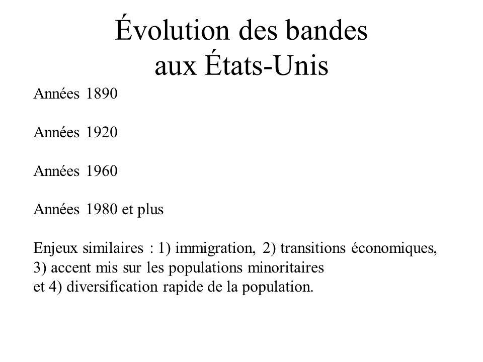 Évolution des bandes aux États-Unis Années 1890 Années 1920 Années 1960 Années 1980 et plus Enjeux similaires : 1) immigration, 2) transitions économi