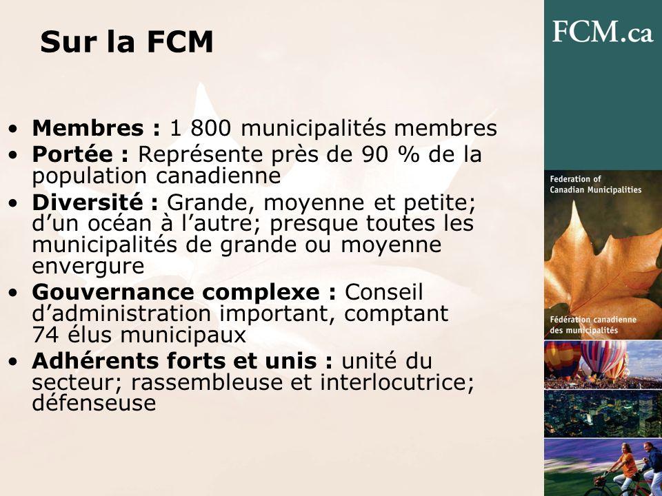 Sur la FCM Membres : 1 800 municipalités membres Portée : Représente près de 90 % de la population canadienne Diversité : Grande, moyenne et petite; dun océan à lautre; presque toutes les municipalités de grande ou moyenne envergure Gouvernance complexe : Conseil dadministration important, comptant 74 élus municipaux Adhérents forts et unis : unité du secteur; rassembleuse et interlocutrice; défenseuse