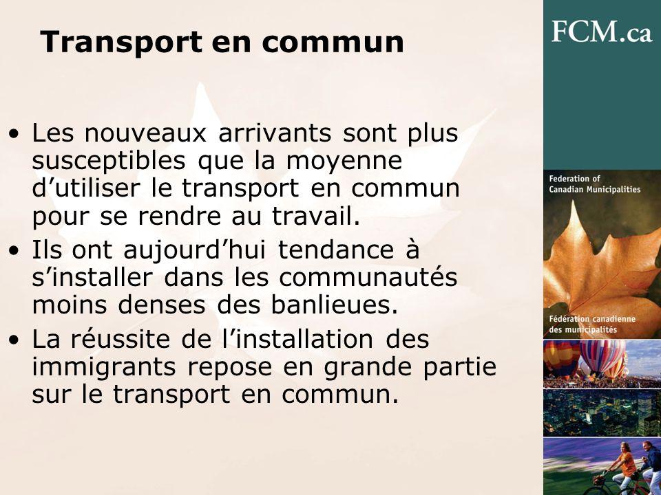 Transport en commun Les nouveaux arrivants sont plus susceptibles que la moyenne dutiliser le transport en commun pour se rendre au travail.