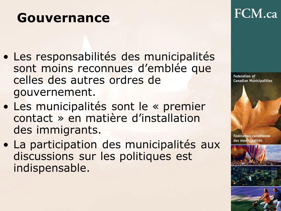 Gouvernance Les responsabilités des municipalités sont moins reconnues demblée que celles des autres ordres de gouvernement.