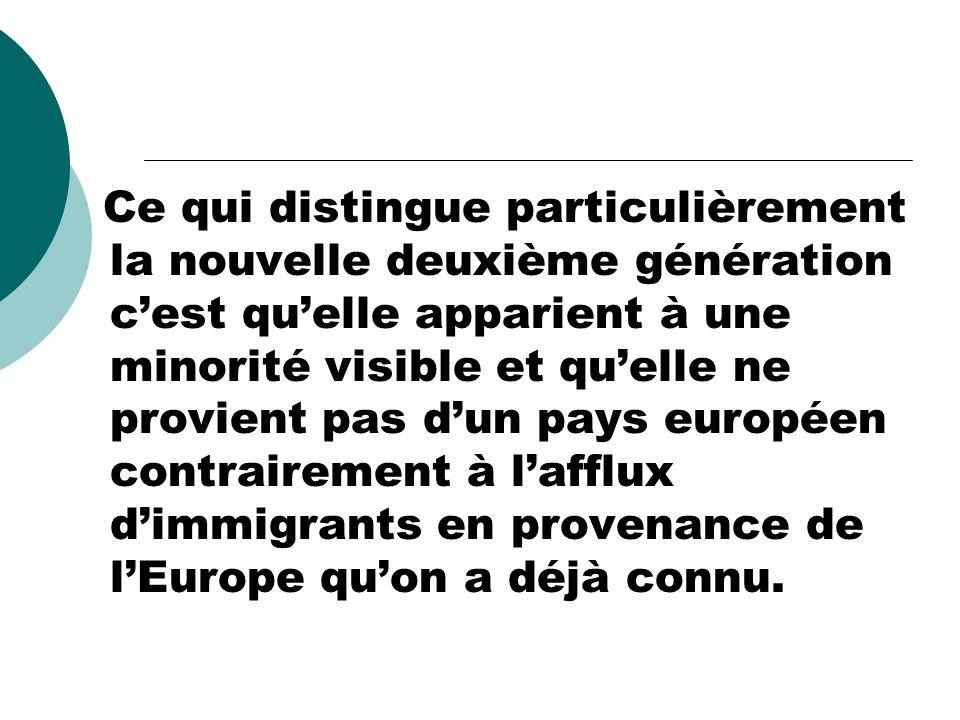 Ce qui distingue particulièrement la nouvelle deuxième génération cest quelle apparient à une minorité visible et quelle ne provient pas dun pays euro