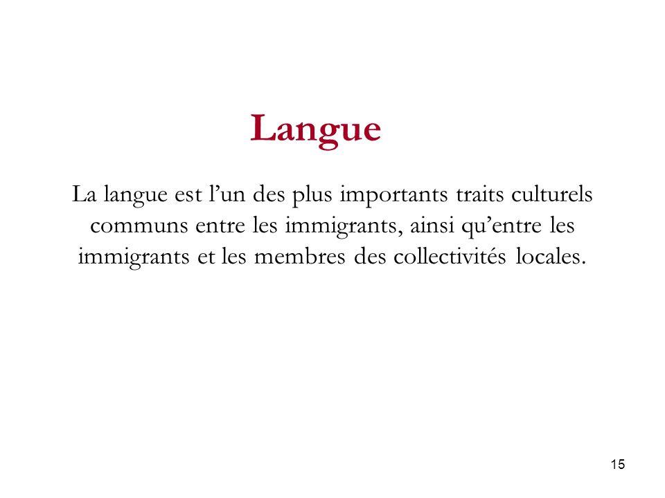 15 La langue est lun des plus importants traits culturels communs entre les immigrants, ainsi quentre les immigrants et les membres des collectivités locales.