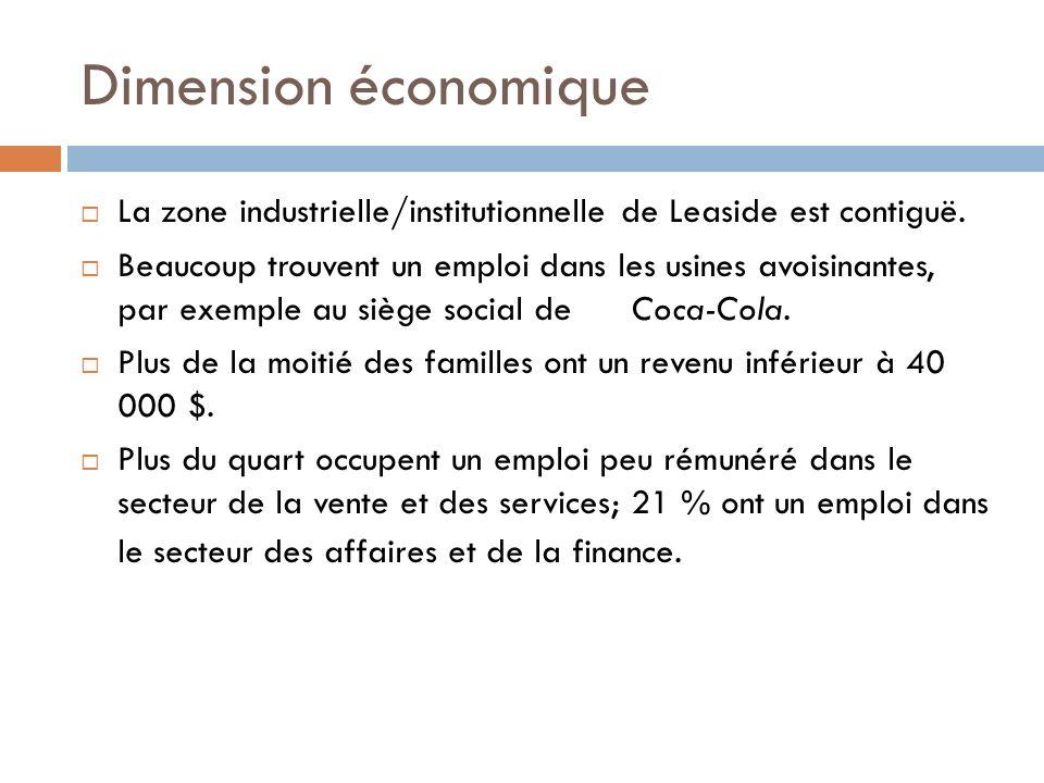 Dimension économique La zone industrielle/institutionnelle de Leaside est contiguë.