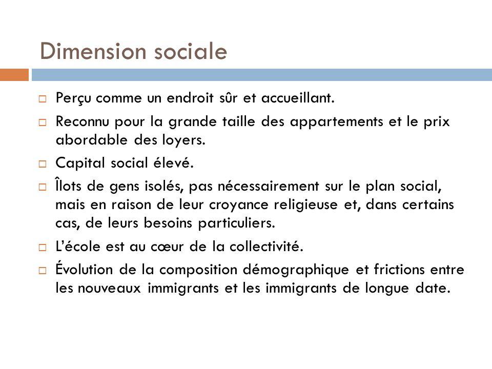 Dimension sociale Perçu comme un endroit sûr et accueillant.