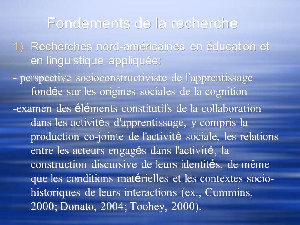 Fondements de la recherche 1)Recherches nord-américaines en éducation et en linguistique appliquée: - perspective socioconstructiviste de l apprentiss