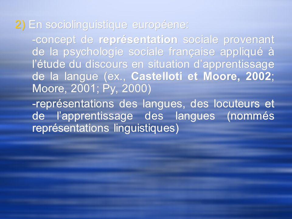 2) En sociolinguistique européene: -concept de représentation sociale provenant de la psychologie sociale française appliqué à létude du discours en s
