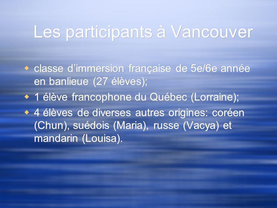 Les participants à Vancouver classe dimmersion française de 5e/6e année en banlieue (27 élèves); 1 élève francophone du Québec (Lorraine); 4 élèves de
