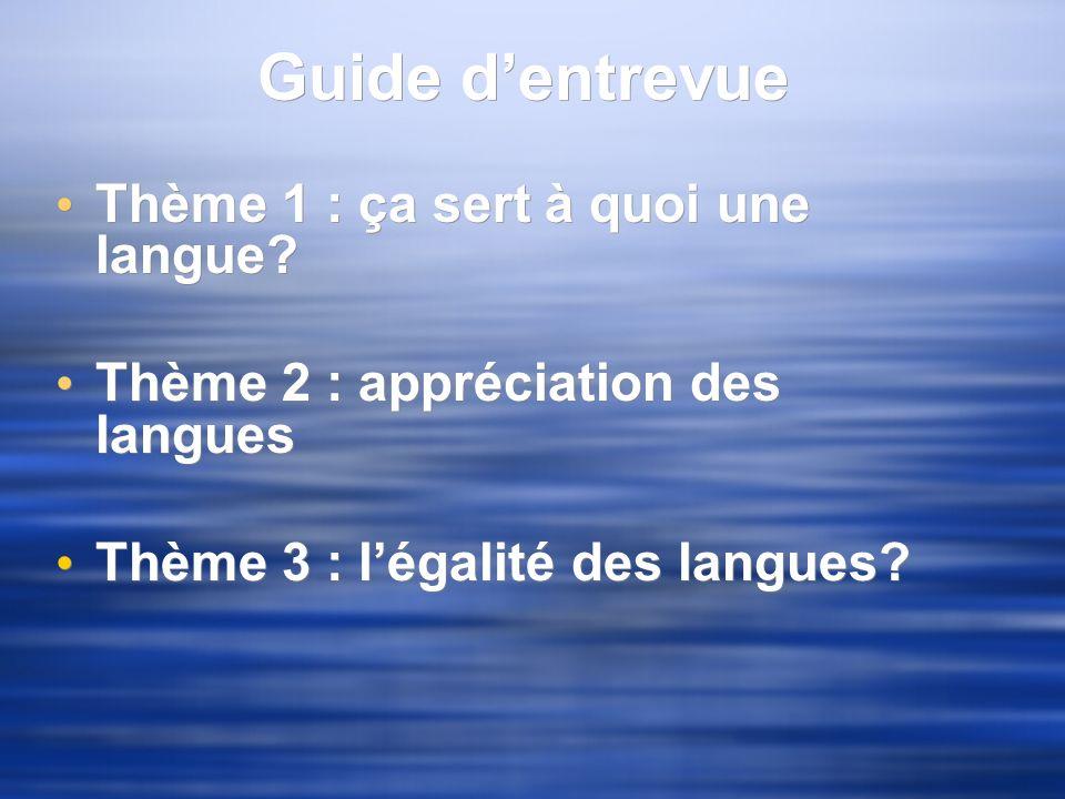 Guide dentrevue Thème 1 : ça sert à quoi une langue? Thème 2 : appréciation des langues Thème 3 : légalité des langues? Thème 1 : ça sert à quoi une l