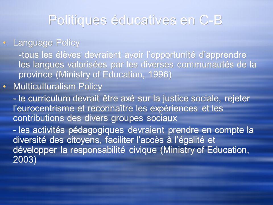 Politiques éducatives en C-B Language Policy -tous les élèves devraient avoir lopportunité dapprendre les langues valorisées par les diverses communau