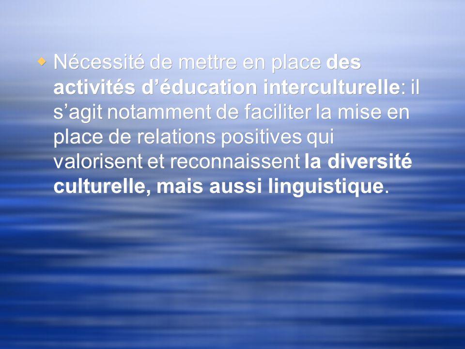 « Faire de la langue une composante essentielle de léducation interculturelle, en vue dencourager la compréhension entre différentes populations et dassurer le respect des droits fondamentaux » (UNESCO, 2003 : 33).