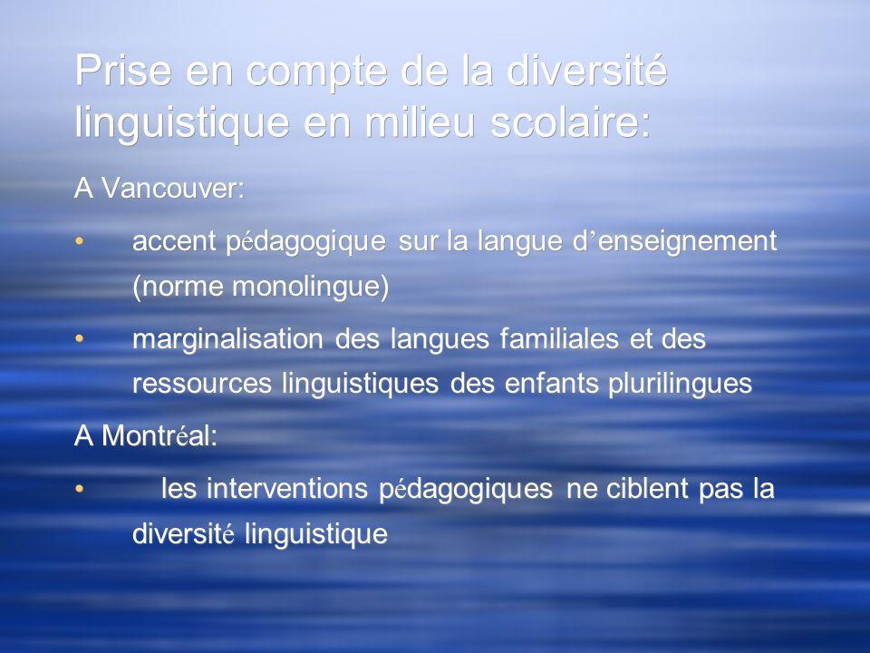 Prise en compte de la diversité linguistique en milieu scolaire: A Vancouver: accent p é dagogique sur la langue d enseignement (norme monolingue) mar