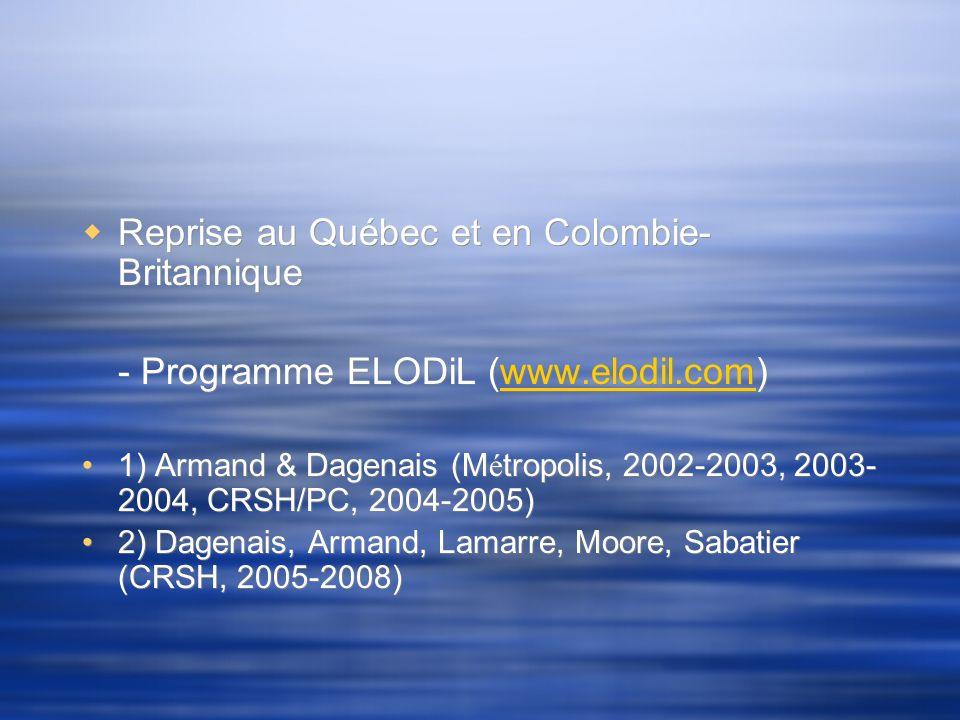 Reprise au Québec et en Colombie- Britannique - Programme ELODiL (www.elodil.com)www.elodil.com 1) Armand & Dagenais (M é tropolis, 2002-2003, 2003- 2