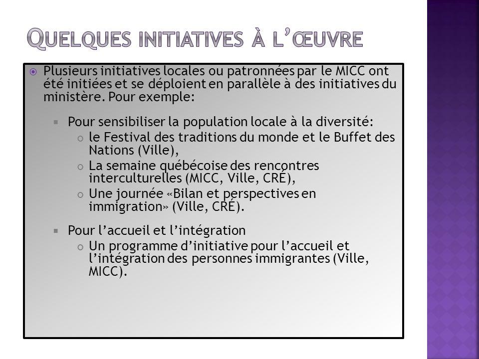 Plusieurs initiatives locales ou patronnées par le MICC ont été initiées et se déploient en parallèle à des initiatives du ministère. Pour exemple: Po