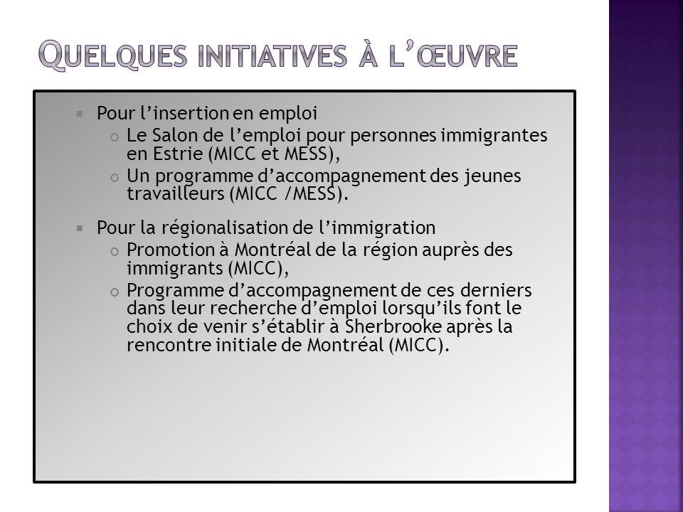 Pour linsertion en emploi Le Salon de lemploi pour personnes immigrantes en Estrie (MICC et MESS), Un programme daccompagnement des jeunes travailleur