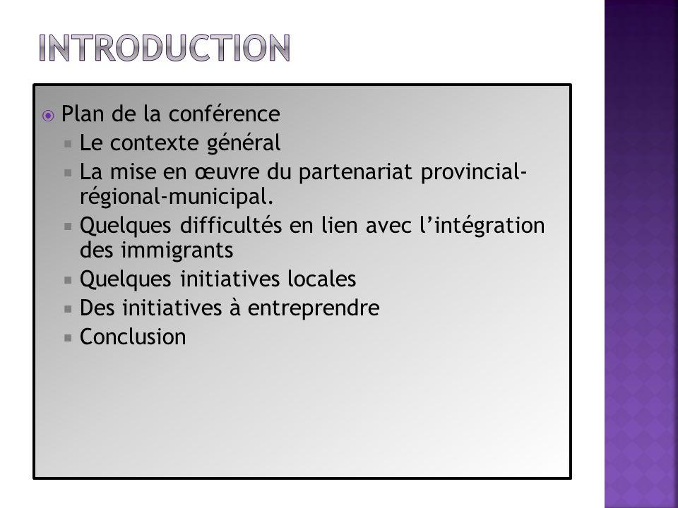 Plan de la conférence Le contexte général La mise en œuvre du partenariat provincial- régional-municipal. Quelques difficultés en lien avec lintégrati