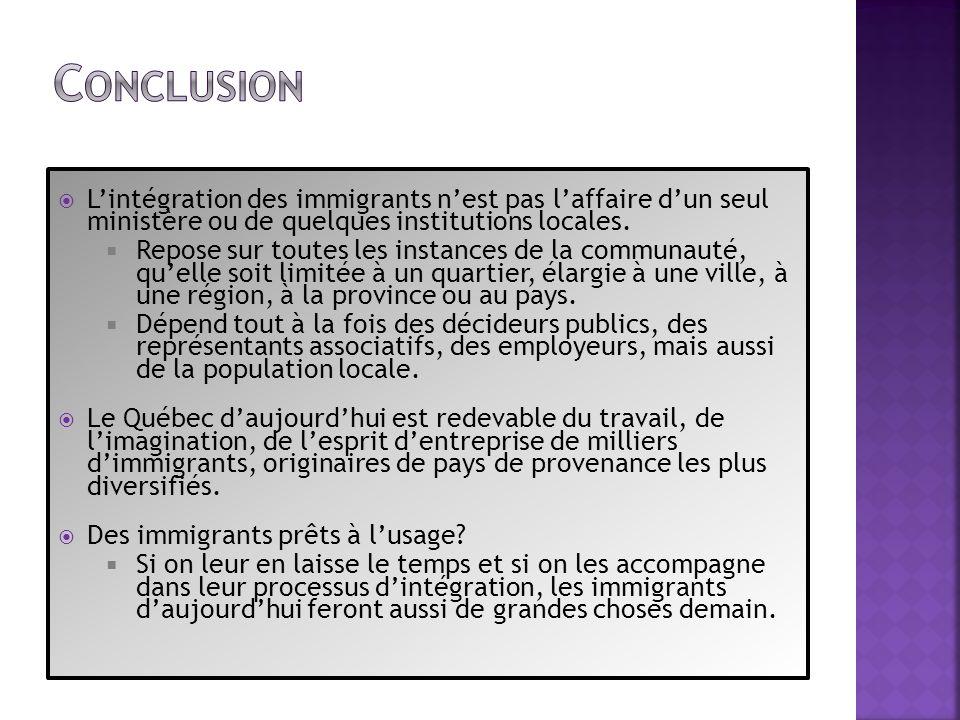 Lintégration des immigrants nest pas laffaire dun seul ministère ou de quelques institutions locales. Repose sur toutes les instances de la communauté