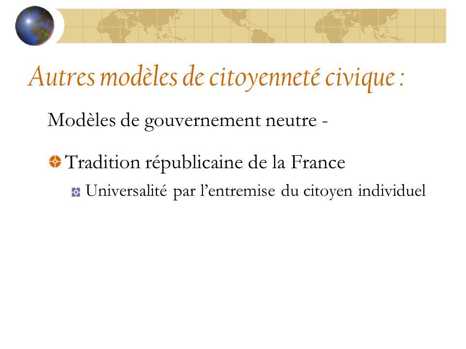 Autres modèles de citoyenneté civique : Modèles de gouvernement neutre - Tradition républicaine de la France Universalité par lentremise du citoyen individuel