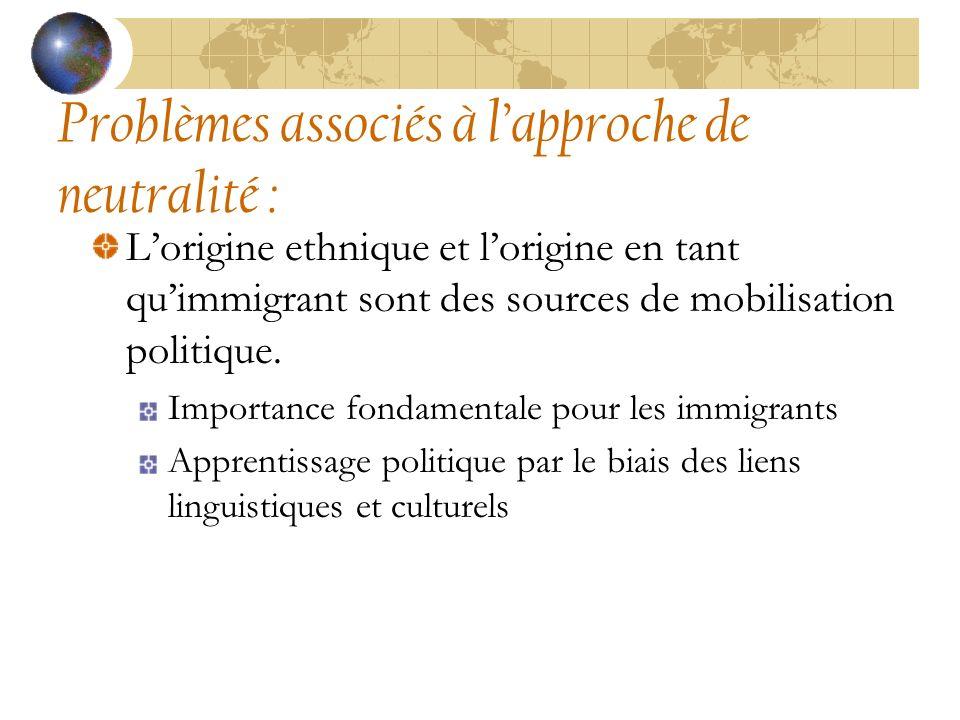 Lorigine ethnique et lorigine en tant quimmigrant sont des sources de mobilisation politique.