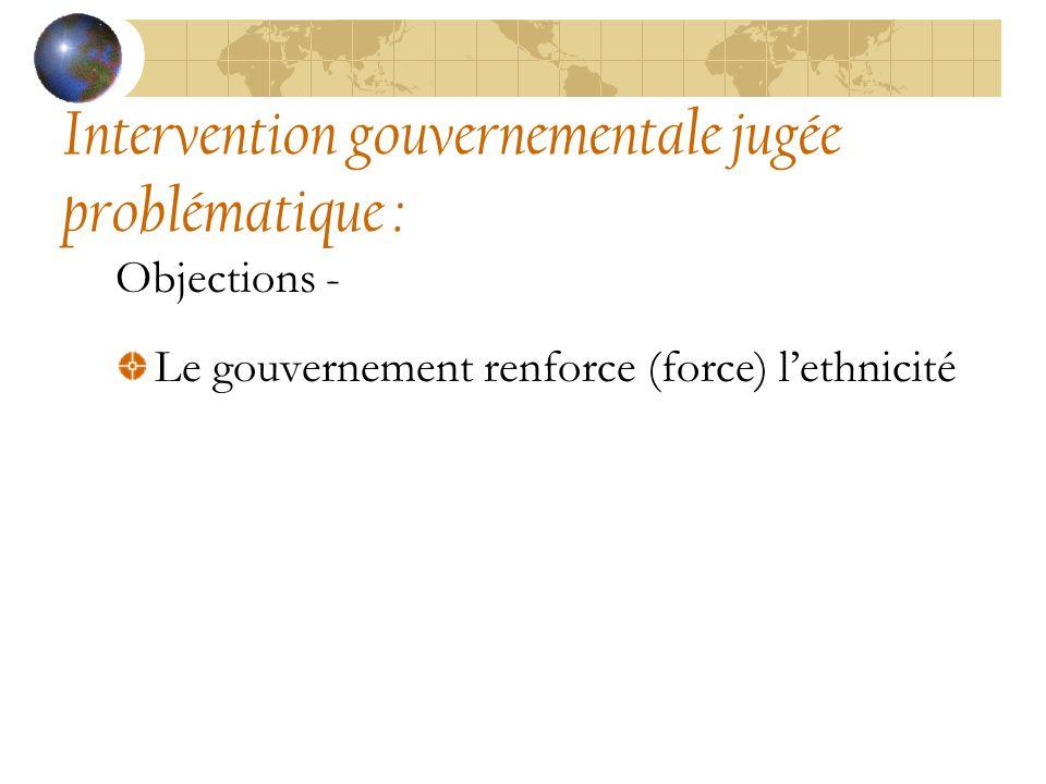 Intervention gouvernementale jugée problématique : Objections - Le gouvernement renforce (force) lethnicité