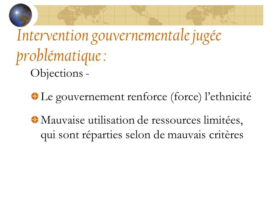 Intervention gouvernementale jugée problématique : Objections - Le gouvernement renforce (force) lethnicité Mauvaise utilisation de ressources limitées, qui sont réparties selon de mauvais critères
