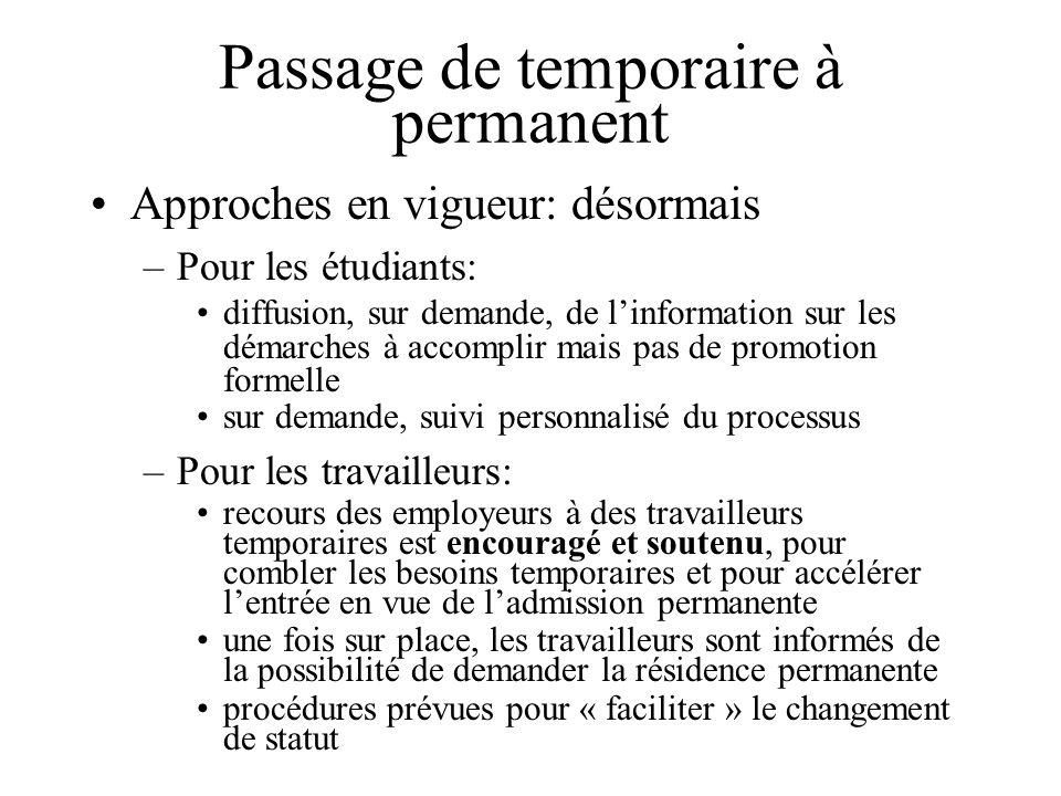 Passage de temporaire à permanent Approches en vigueur: désormais –Pour les étudiants: diffusion, sur demande, de linformation sur les démarches à acc