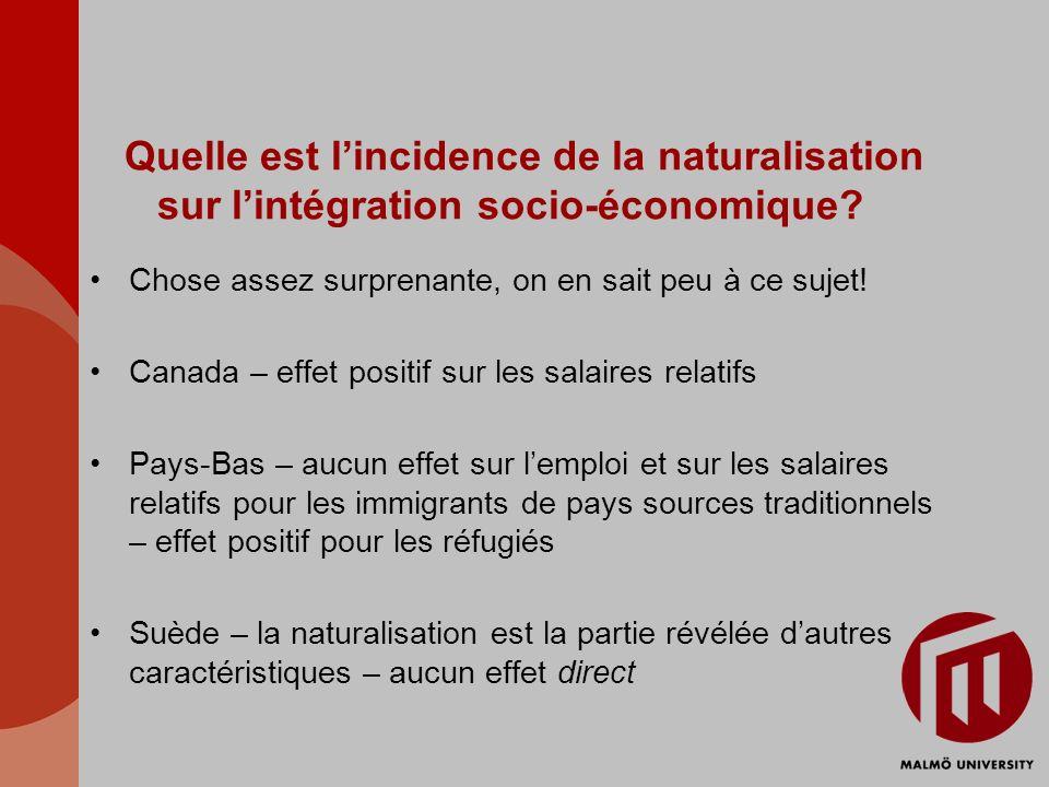 Quelle est lincidence de la naturalisation sur lintégration socio-économique? Chose assez surprenante, on en sait peu à ce sujet! Canada – effet posit