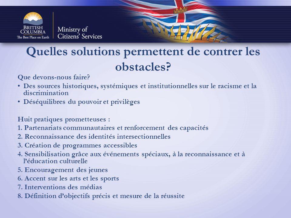 Quelles solutions permettent de contrer les obstacles.