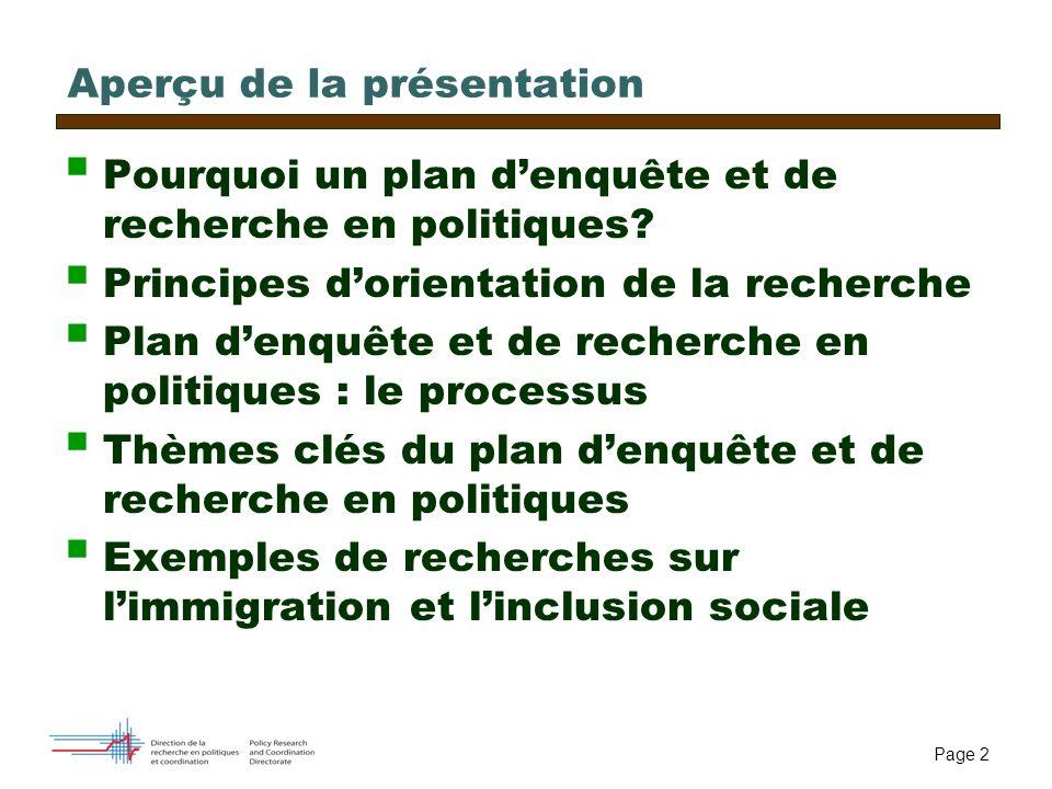 Page 2 Aperçu de la présentation Pourquoi un plan denquête et de recherche en politiques? Principes dorientation de la recherche Plan denquête et de r