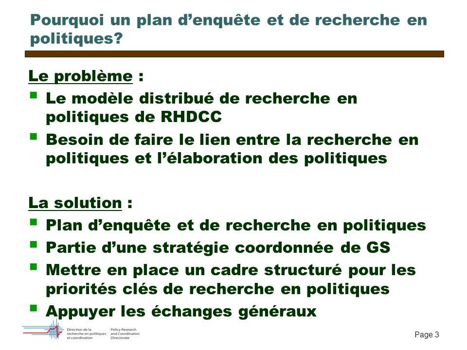 Page 3 Pourquoi un plan denquête et de recherche en politiques? Le problème : Le modèle distribué de recherche en politiques de RHDCC Besoin de faire