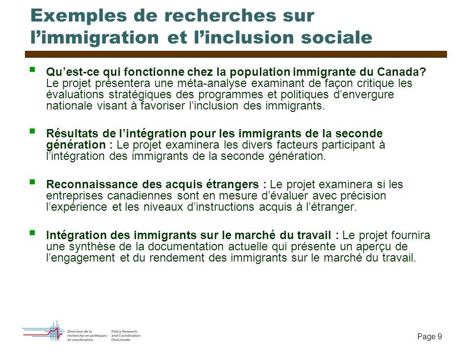 Page 9 Exemples de recherches sur limmigration et linclusion sociale Quest-ce qui fonctionne chez la population immigrante du Canada? Le projet présen