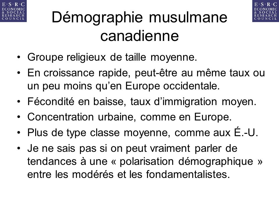 Démographie musulmane canadienne Groupe religieux de taille moyenne.